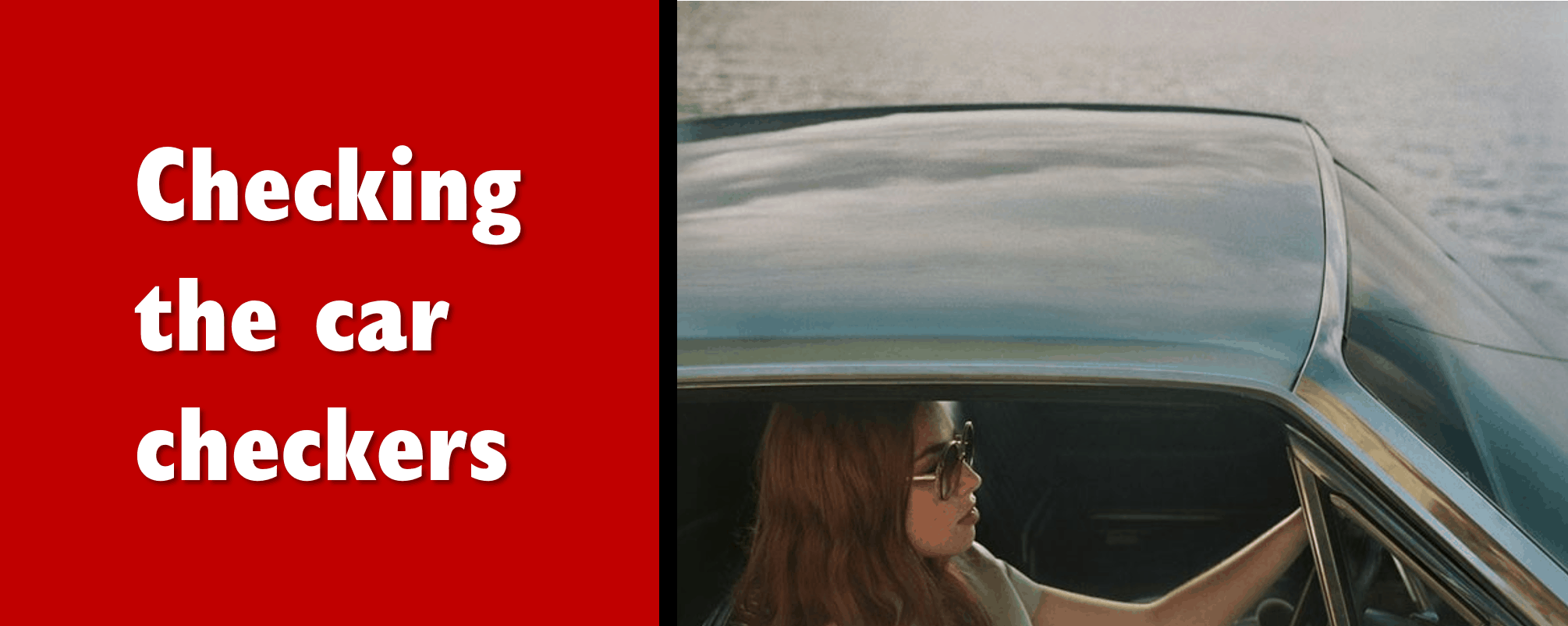 Attractive women driving away in her new, classic car.
